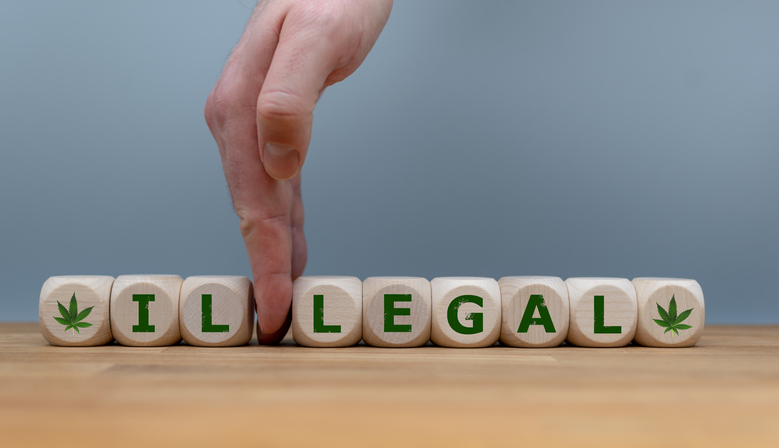 """Symbol for Marijuana Legalization. Dice form the word """"ILLEGAL"""" while a hand seperates the letters """"IL"""" in order to change the word to """"LEGAL""""."""