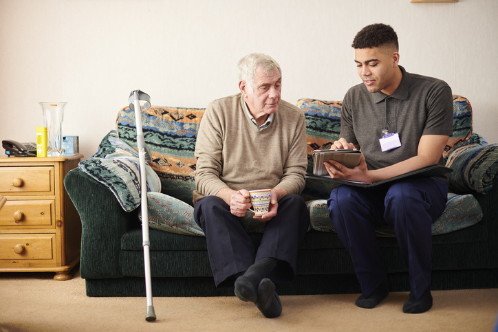 support worker with client
