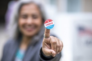 Senior Mexican Woman with I Voted Sticker