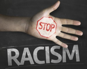 Educational and Creative composition with the message Stop Racism
