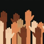 Hands Raised Multi Racial