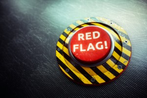 Red Flag Warning Button Concept