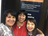 From left, Norma Gonzales, Eva M. Moya, and Elena Dela Vega attend the 41st National Institute Conference on Social Work  and Human Services in Rural Areas.