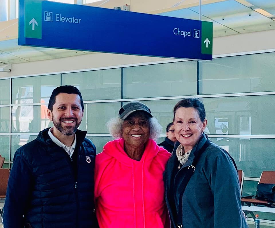 NASW President Kathryn Conley Wehrmann (right) and NASW New Jersey team mates Paul Cataldo and Sandy Ortega before boarding their flight to return home.