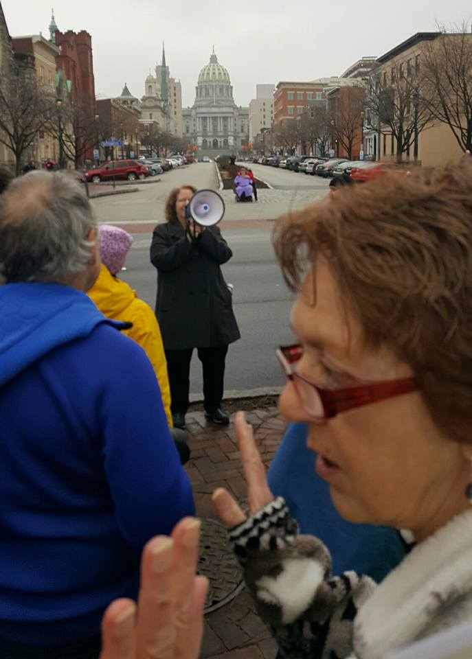 NASW Foundation Pioneer Linda Grobman, editor and publisher of The New Social Worker Magazine, speaks at Harrisburg, Pa. march.