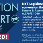 New York Legislature bans conversion therapy.