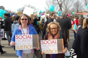 National Association of Social Workers Senior Field Organizer Dina Kastner (left) and Senior Practice Associate Rita Webb at the U.S. Supreme Court event on March 23 to push for women's right to birth control in their health care coverage.