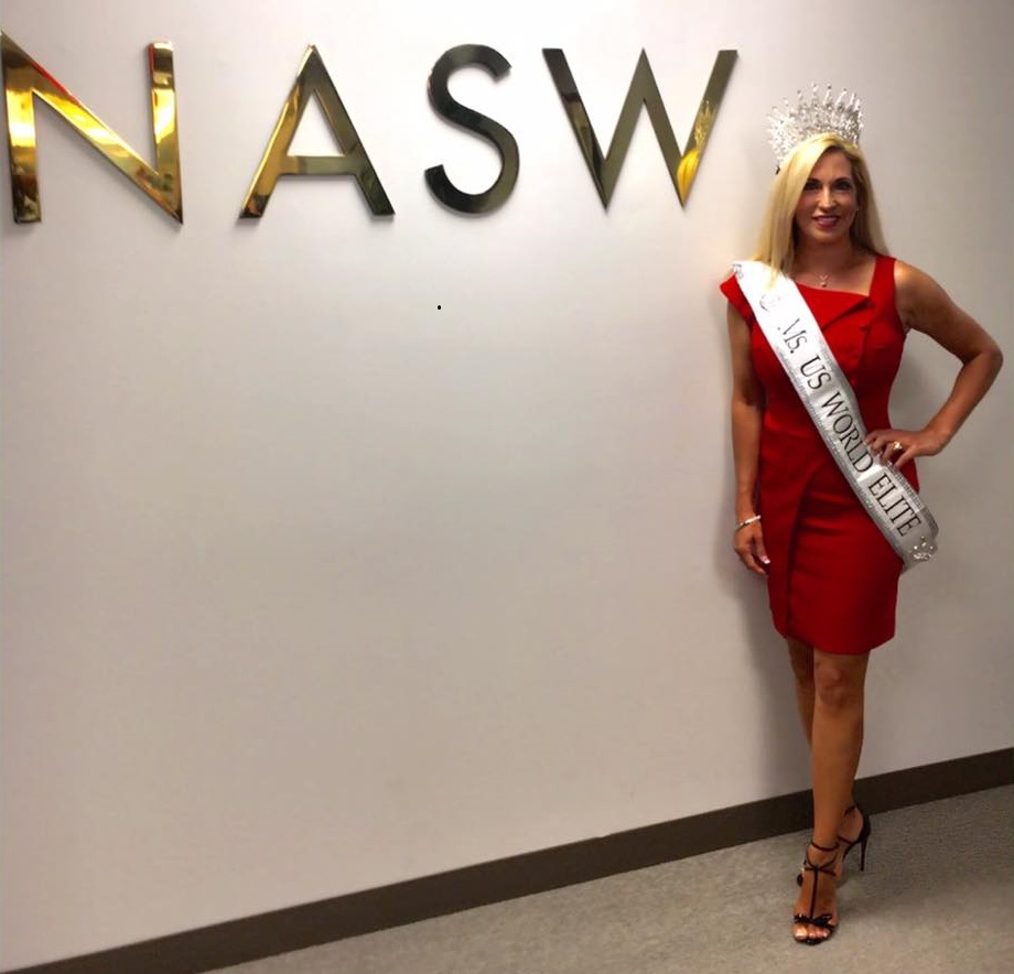 Ms. U.S. World Elite Carla Gonzalez visits NASW headquarters.