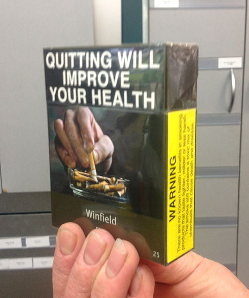 Pictorial warnings are often posted on cigarette packages sold in other nations.