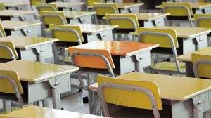 school desks in rows