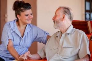 A social worker meets a client.