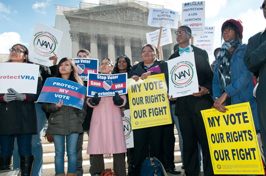 Voting rights protest in front of the U.S. Supreme Court. Photo byDavid Sachs / SEIU.